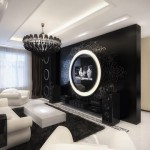 مدل دکوراسیون مشکی و سفید اتاق نشیمن