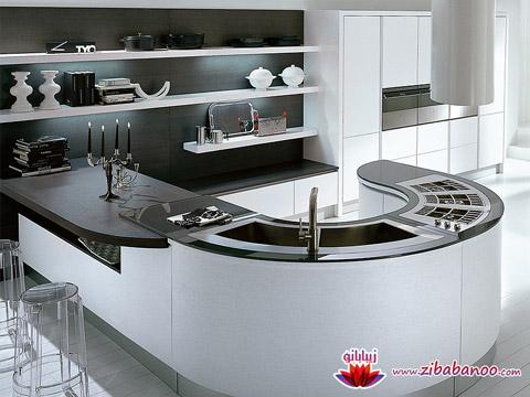دکوراسیون آشپزخانه مورب , مدل دکوراسیون آشپخانه امروزی , دکوراسیون آشپزخانه مدرن , دکوراسیون آشپزخانه سفید و مشکی , دکوراسیون مورب آشپزخانه